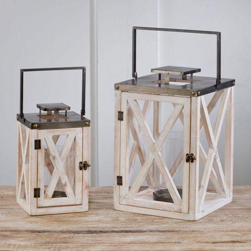 Saylor Candleholder Lanterns Whitewash Set of Two