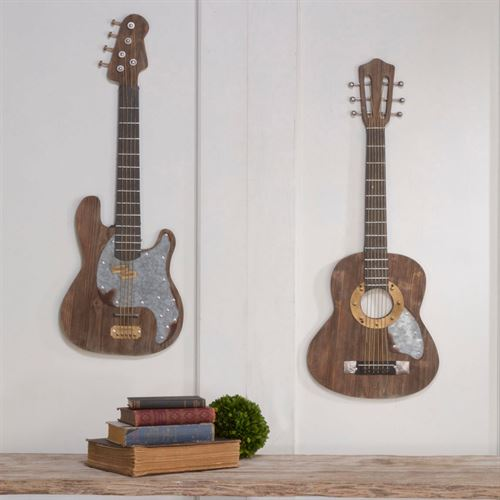 Play It Loud Electric Guitar Wall Art Brown