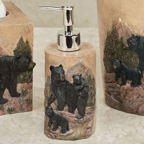 Bears in Mountain Lotion Soap Dispenser Black