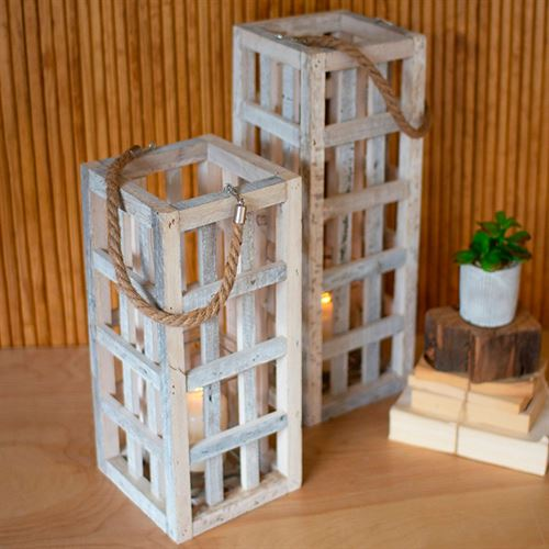 Rustic Wood Lantern Candle Towers Whitewash Set of Two