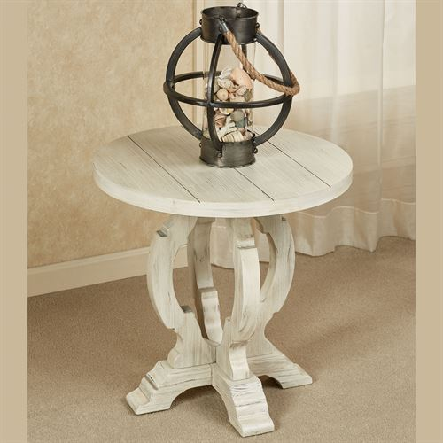 Alexis Round Accent Table Weathered White