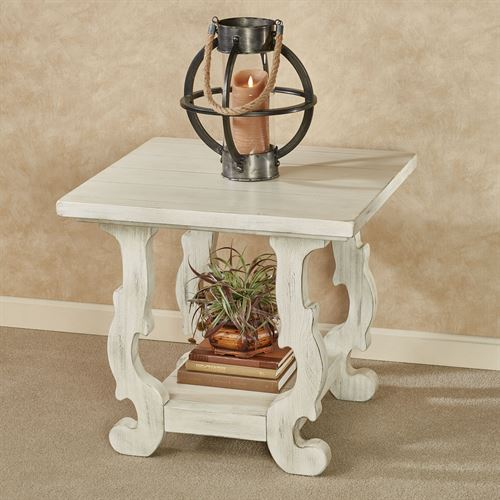 Alexis Chairside Table Weathered White