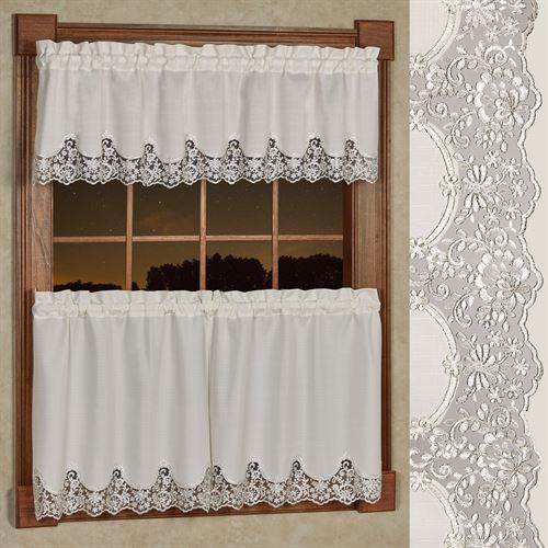 Evangelina Tier and Valance Set Ivory