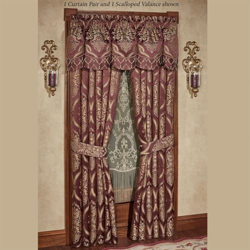 Laurelton Scalloped Valance Wine 72 x 20