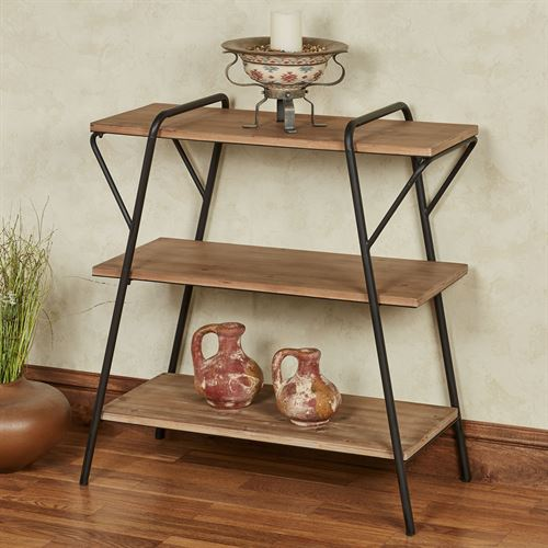 Leith Three Tier Shelf Floor Stand Natural Oak