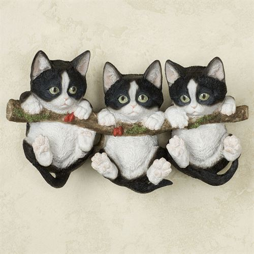 Trio of Kittens Wall Accent Black