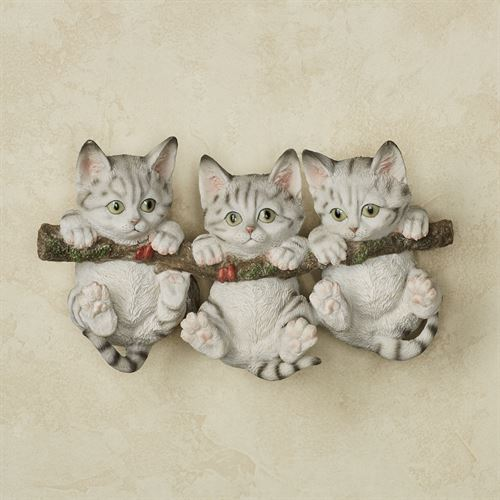 Trio of Kittens Wall Accent Gray