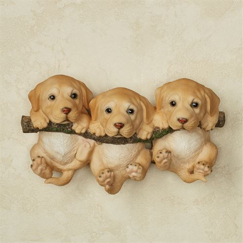Trio of Labrador Puppies Dog Wall Accent Golden Yellow