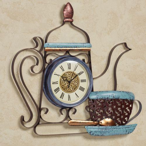 Deluca Brew Coffee Pot Wall Clock Bronze