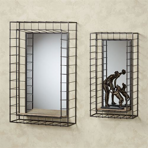 Wire Grid Wall Shelves Gray Set of Two