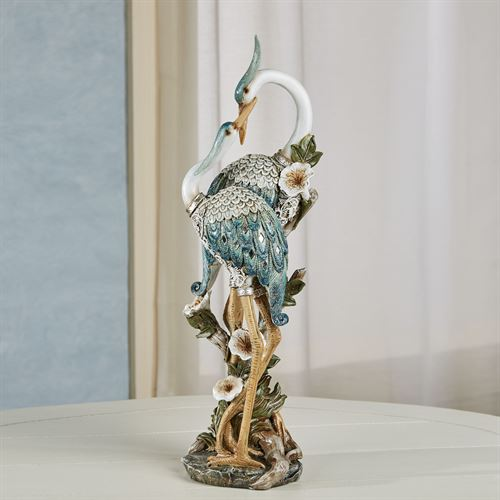 Devoted Cranes Table Sculpture Teal
