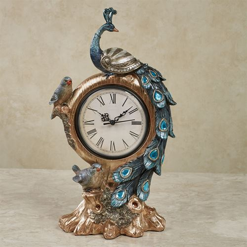 Poised Peacock Accent Clock Blue