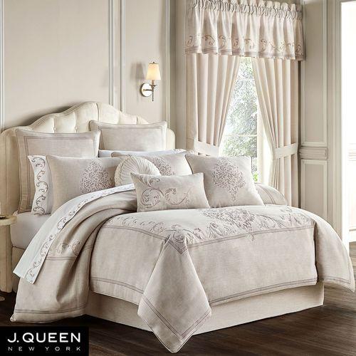 Angeline Embroidered Comforter Set Beige