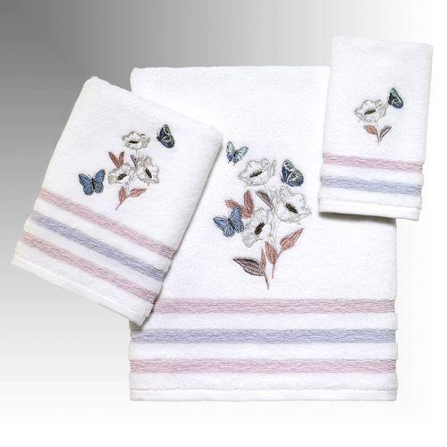 In the Garden Butterfly Floral Bath Towel Set Multi Pastel Bath Hand Fingertip