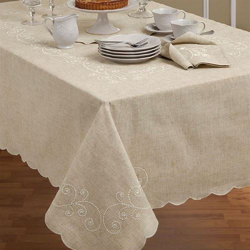 French Perle Embroidered Swirl Tablecloth Natural