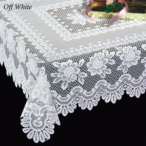 Rose Motif Lace Oblong Tablecloth