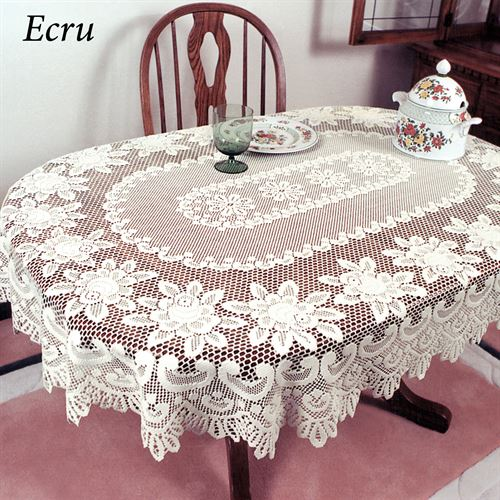 Rose Motif Lace Oval Tablecloth