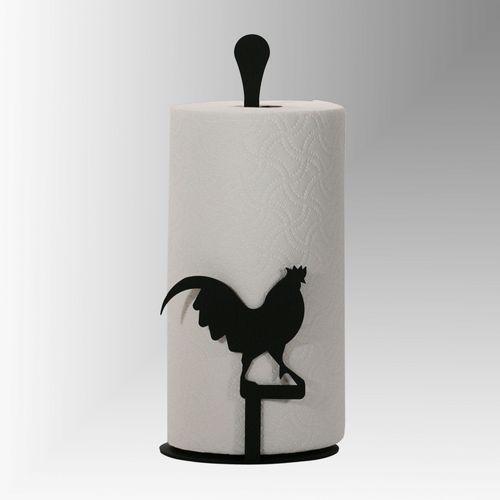 Rooster Kitchen Paper Towel Holder Black
