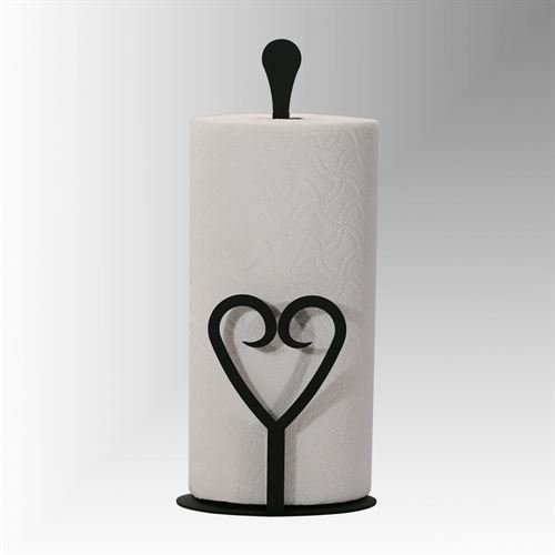 Heart Paper Towel Holder Black