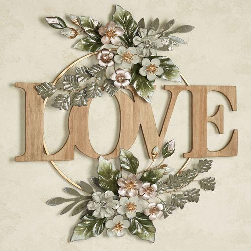 Flowering Charm Love Word Wall Art Multi Pastel