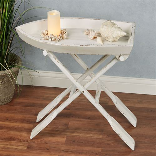 Row Boat Folding Table Weathered White