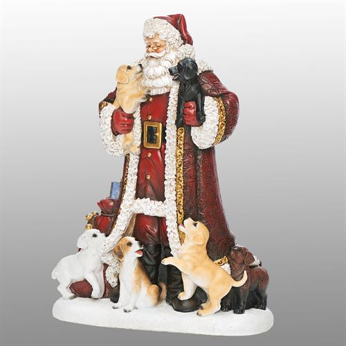 Santa with Puppies Dog Figurine Red