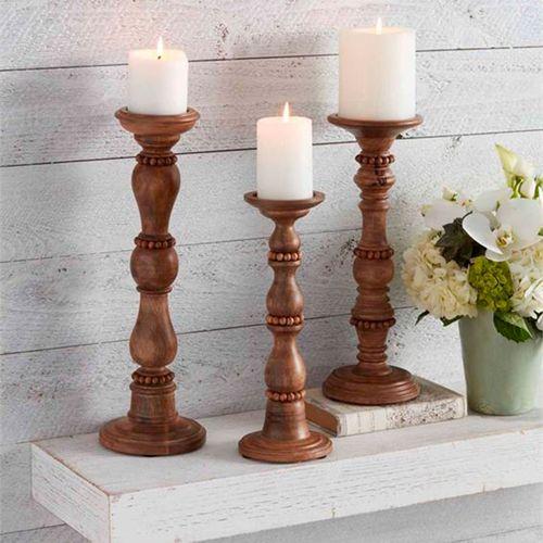 Harper Beaded Candleholders Brown Set of Three