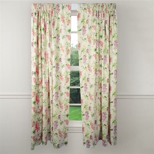 Jessamy Floral Curtain Panel Light Almond