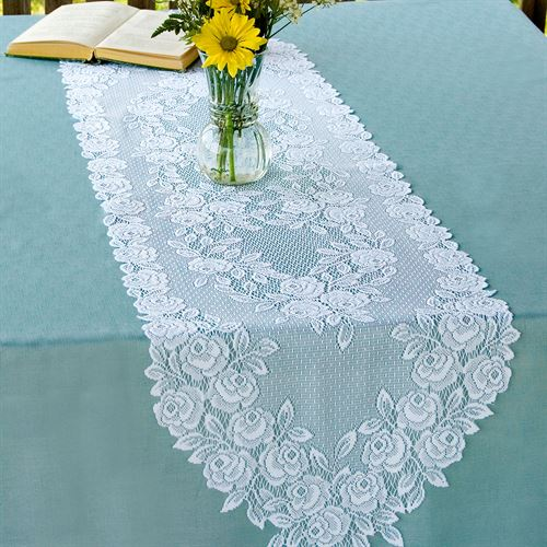 Graceful Rose Lace Table Runner