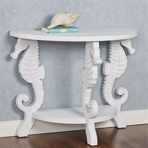 Seahorse Demilune Console Table Weathered White