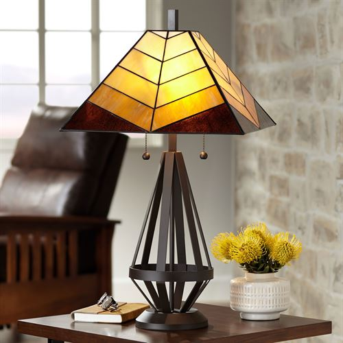 Dallas Stained Glass Table Lamp Multi Earth