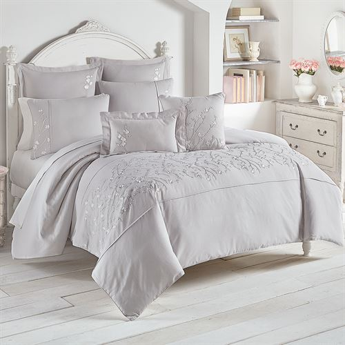 Cherry Blossom Mini Comforter Set Gray
