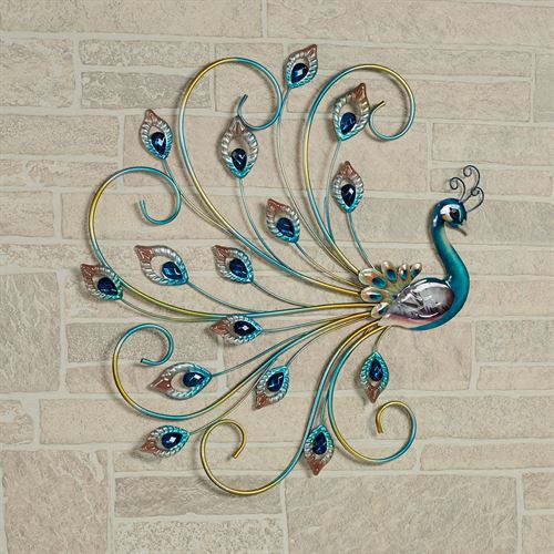 Noble Peacock Wall Art Multi Jewel
