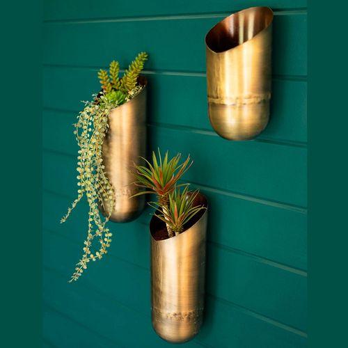 Crossett Decorative Wall Vases Antique Brass Set of Three