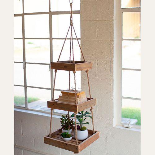 Avilla Hanging Three Tier Wood Shelf Natural
