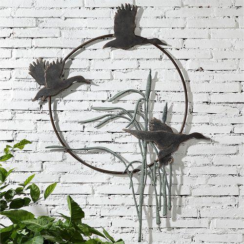 Flying Duck Trio Wall Art Verdi Bronze