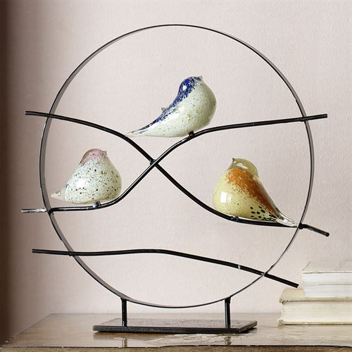 Bird Trio Art Glass Table Sculpture Black