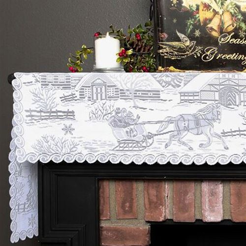 Old Fashioned Christmas Lace Mantel Scarf White 20 x 96
