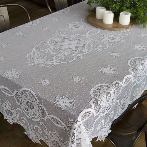Snowflake Gathering Lace Oblong Tablecloth White 60 x 86