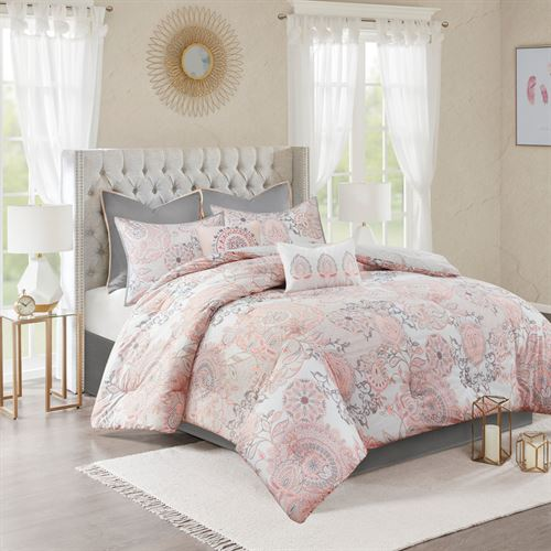 Isadora Flora Comforter Bed Set Blush