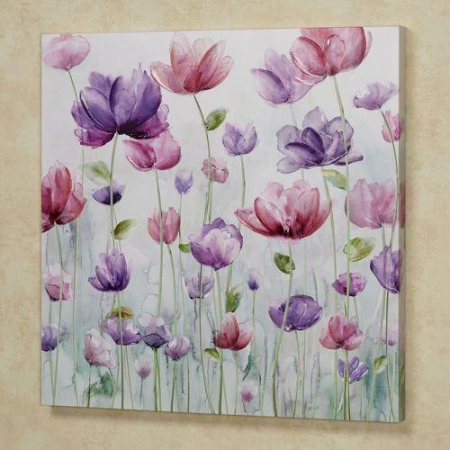 Pretty Petals Floral Canvas Wall Art Purple