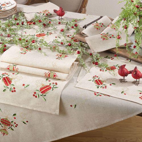 Holiday Ornament Oblong Tablecloth Natural