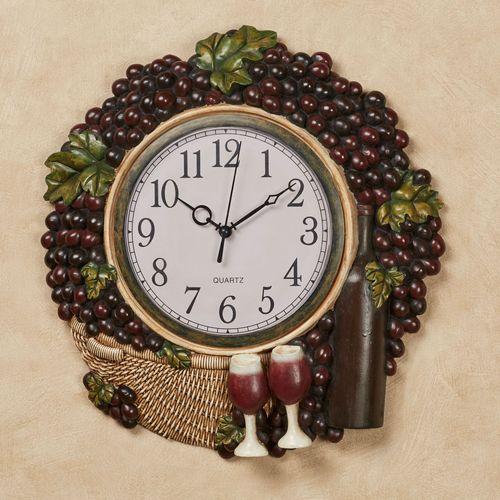 Wine Picnic Grapes Wall Clock Multi Earth