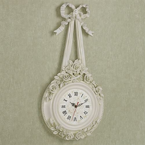 Ribbons and Roses Wall Clock Antique White