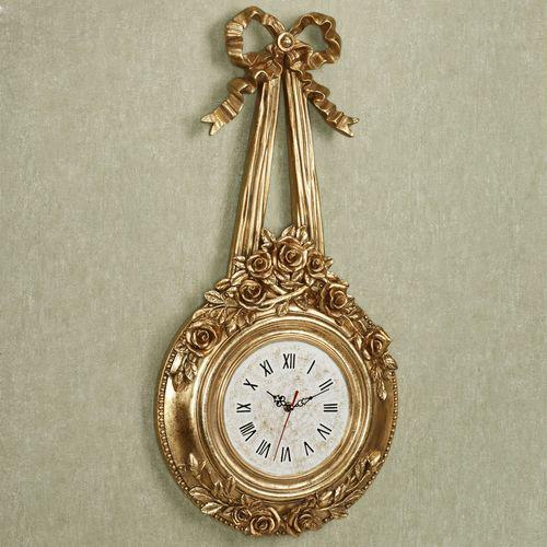 Ribbons and Roses Wall Clock Venetian Gold