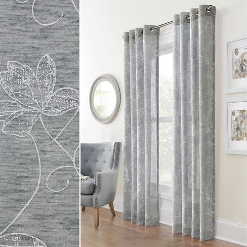 Billingsley Semi Sheer Grommet Curtain Panel Dark Gray