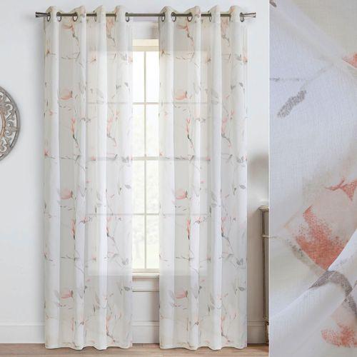 Floral Symphony Semi Sheer Grommet Curtain Panel