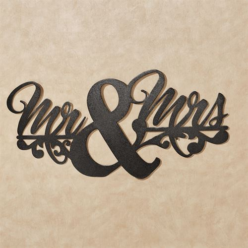 Wedded Bliss Mr & Mrs Wall Art Sign Black
