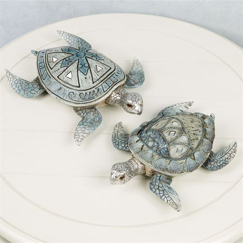 Sea Turtles Tabletop Accents Blue Set of Two
