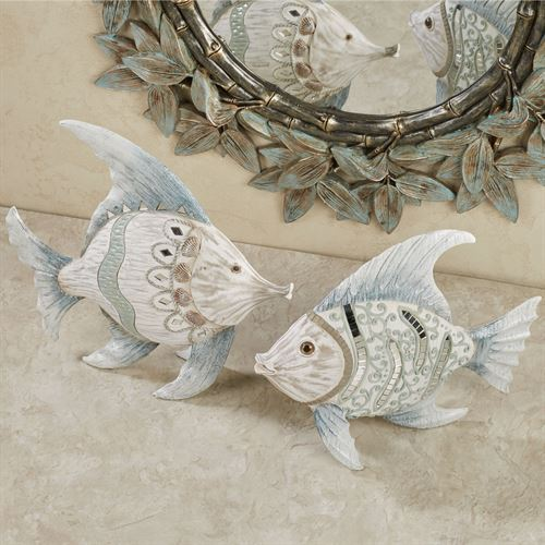 Conventina Fish Tabletop Accents Whitewash Set of Two
